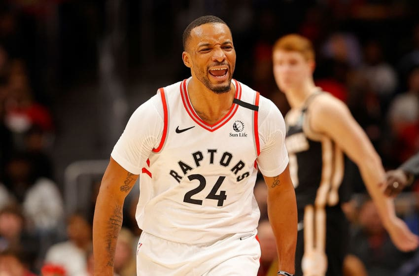 Norman Powell #24 of the Toronto Raptors reacts after hitting a three-point basket against the Atlanta Hawks in the second half at State Farm Arena. (Photo by Kevin C. Cox/Getty Images)