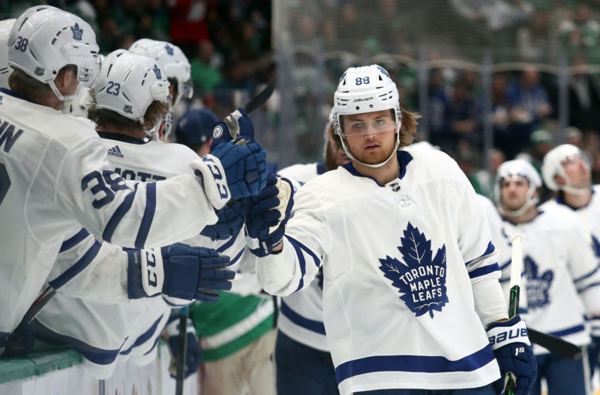 William Nylander #88 of the Toronto Maple Leafs celebrates a goal against the Dallas Stars in the third period at American Airlines. (Photo by Ronald Martinez/Getty Images)