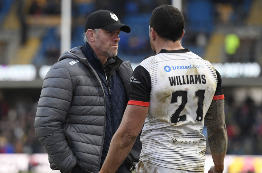 Sonny Bill Williams of the Toronto Wolfpack and manager Brian McDermott. (Photo by George Wood/Getty Images)