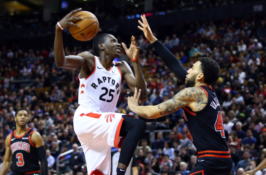 Chris Boucher #25 of the Toronto Raptors shoots the ball as Denzel Valentine #45 defends during the second half of an NBA game at Scotiabank Arena. (Photo by Vaughn Ridley/Getty Images)