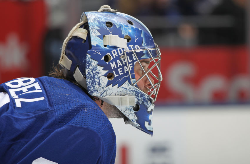 Jack Campbell #36 of the Toronto Maple Leafs. (Photo by Claus Andersen/Getty Images)