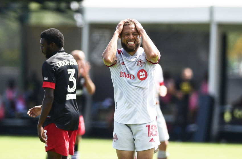 Nick DeLeon #18 of Toronto FC reacts in the second half. (Photo by Emilee Chinn/Getty Images)