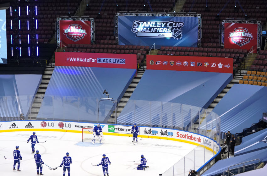 The Toronto Maple Leafs. (Photo by Andre Ringuette/Freestyle Photo/Getty Images)