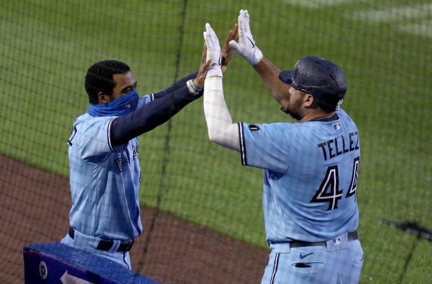 Teoscar Hernandez #37 and Rowdy Tellez #44 of the Toronto Blue Jays. (Photo by Bryan M. Bennett/Getty Images)