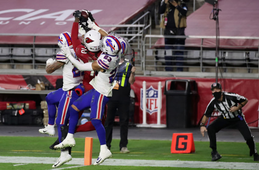 Wide receiver DeAndre Hopkins #10 of the Arizona Cardinals catches the game winning 43-yard touchdown over Micah Hyde #23, Jordan Poyer #21 and Tre'Davious White #27 of the Buffalo Bills. (Photo by Christian Petersen/Getty Images)