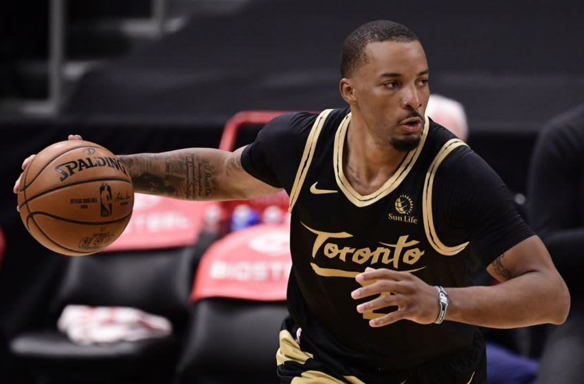 Norman Powell #24 of the Toronto Raptors dribbles the ball. (Photo by Douglas P. DeFelice/Getty Images)