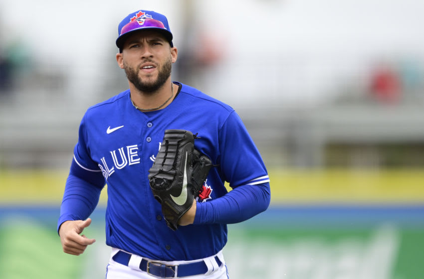 George Springer #4 of the Toronto Blue Jays. (Photo by Douglas P. DeFelice/Getty Images)