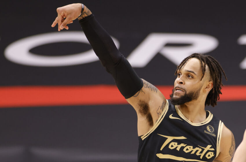 Gary Trent Jr. #33 of the Toronto Raptors reacts after shooting a three pointer. (Photo by Douglas P. DeFelice/Getty Images)