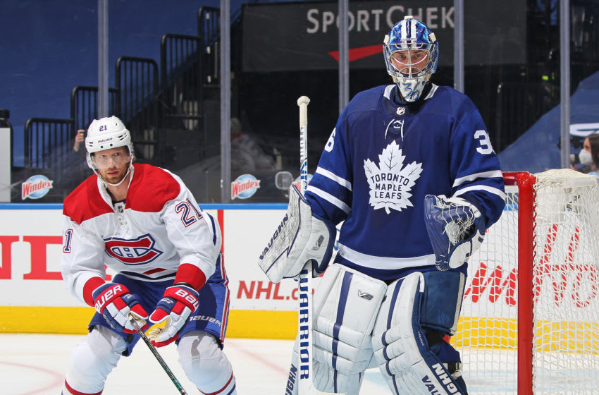 Eric Staal #21 of the Montreal Canadiens skates against Jack Campbell #36 of the Toronto Maple Leafs. (Photo by Claus Andersen/Getty Images)