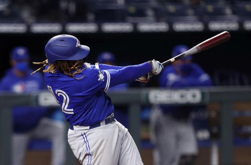 Vladimir Guerrero Jr. #27 of the Toronto Blue Jays. (Photo by Jamie Squire/Getty Images)