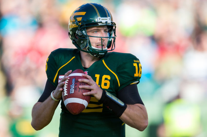 Matt Nichols #16 of the Edmonton Eskimos looks to pass in a game between the Calgary Stampeders and Edmonton Eskimos in week 11 of the 2014 CFL season at Commonwealth Stadium. (Photo by Brent Just/Getty Images)