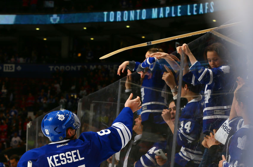 Phil Kessel #81of the Toronto Maple Leafs throws a stick into the crowd after losing to the Montreal Canadiens. (Photo by Abelimages/Getty Images)