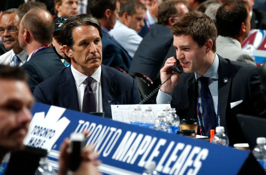 Kyle Dubas GM of the Toronto Maple Leafs and President Brendan Shanahan. (Photo by Bruce Bennett/Getty Images)