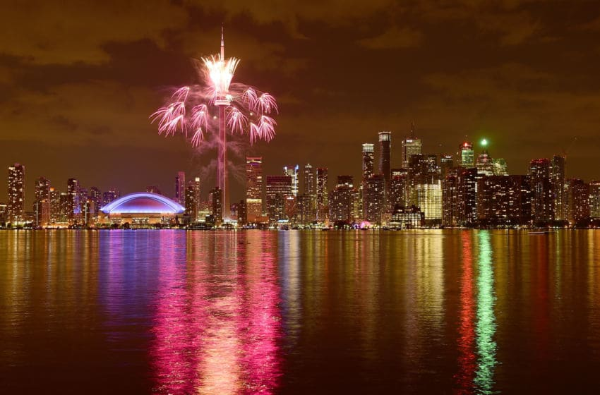TORONTO, ON - JULY 10: Fireworks over the Toronto skyline during opening ceremony for the 2015 Pan American Games on July 10, 2015 in Toronto, Canada. (Photo by Harry How/Getty Images)