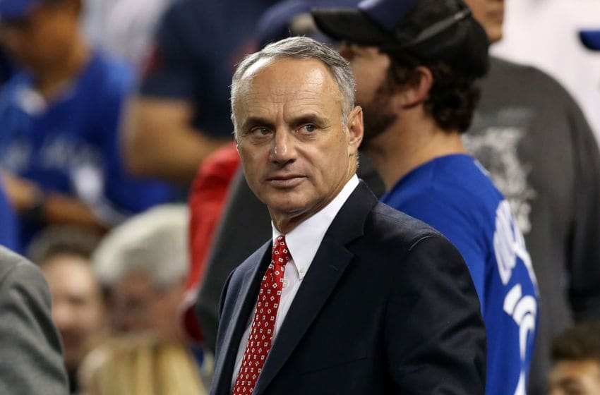 MLB commissioner Rob Manfred during AL Division Series between the Texas Rangers and Toronto Blue Jays. (Photo by Vaughn Ridley/Getty Images)