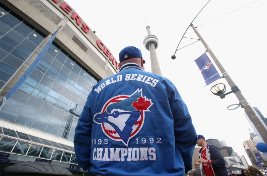 Outside Rogers Centre in Toronto, Canada. (Photo by Tom Szczerbowski/Getty Images)