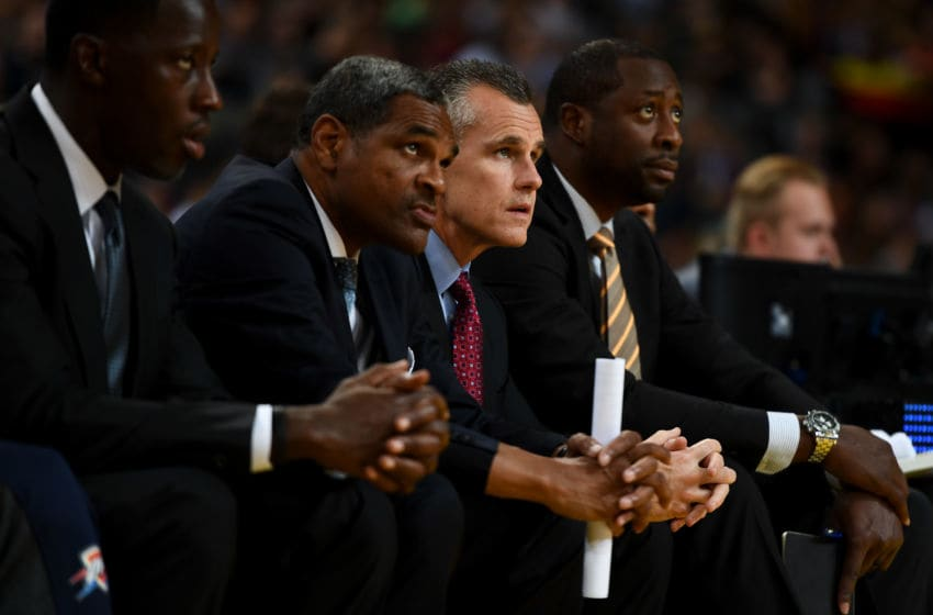 (L-R) Assistant coaches Anthony Grant and Maurice Cheeks, head coach Billy Donovan and assistant coach Adrian Griffin of Oklahoma City Thunder during NBA Global Games Spain 2016 match between FC Barcelona Lassa and Oklahoma City Thunder. (Photo by David Ramos/Getty Images)