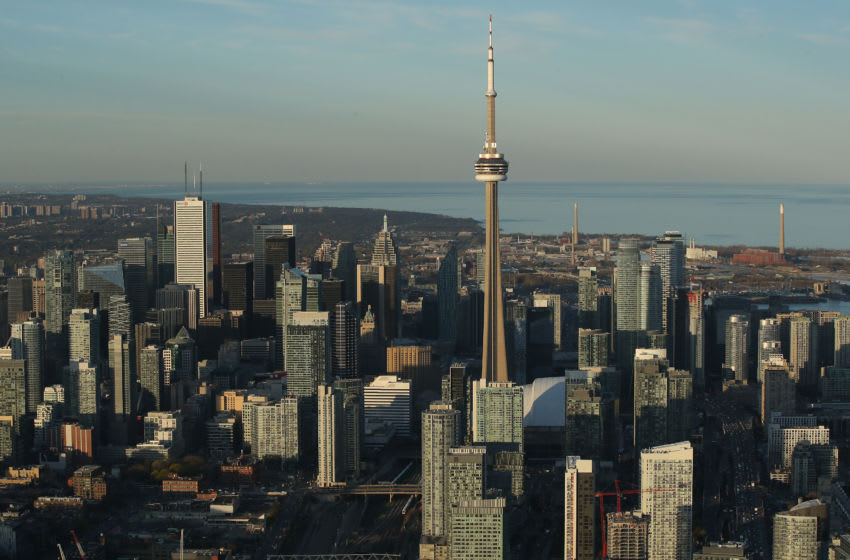 Toronto Maple Leafs - Toronto city skyline and downtown (Photo by Tom Szczerbowski/Getty Images) *** Local Caption ***