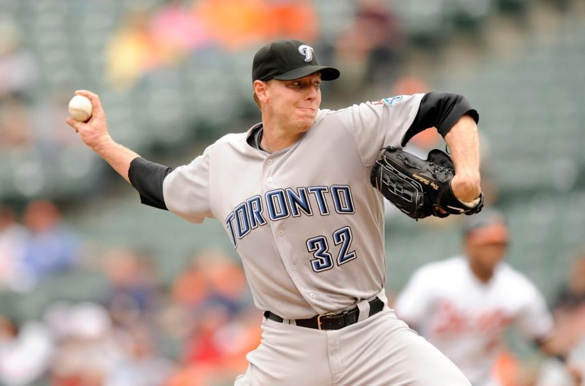 Roy Halladay #32 of the Toronto Blue Jays. (Photo by G Fiume/Getty Images)