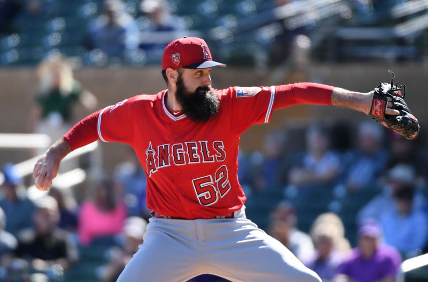 Matt Shoemaker #52 of the Los Angeles Angels of Anaheim delivers a first inning pitch against the Colorado Rockies. (Photo by Norm Hall/Getty Images)