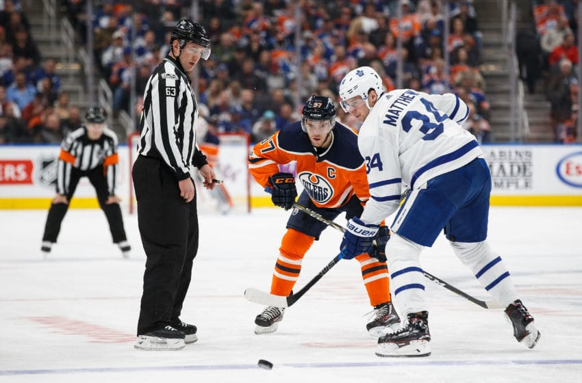 Connor McDavid of the Edmonton Oilers and Auston Matthews of the Toronto Maple Leafs. (Photo by Codie McLachlan/Getty Images)