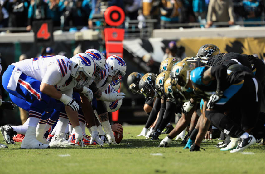 JACKSONVILLE, FL - JANUARY 07: The Buffalo Bills offense lines up against the Jacksonville Jaguars defense in the second quarter of the AFC Wild Card Playoff game at EverBank Field on January 7, 2018 in Jacksonville, Florida. (Photo by Mike Ehrmann/Getty Images)