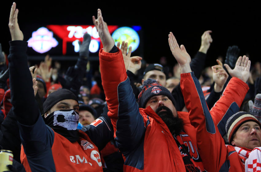 TORONTO, ON - NOVEMBER 29: Fans clap their hands during the second half of the MLS Eastern Conference Finals, Leg 2 game between Columbus Crew SC and Toronto FC at BMO Field on November 29, 2017 in Toronto, Ontario, Canada. (Photo by Vaughn Ridley/Getty Images)