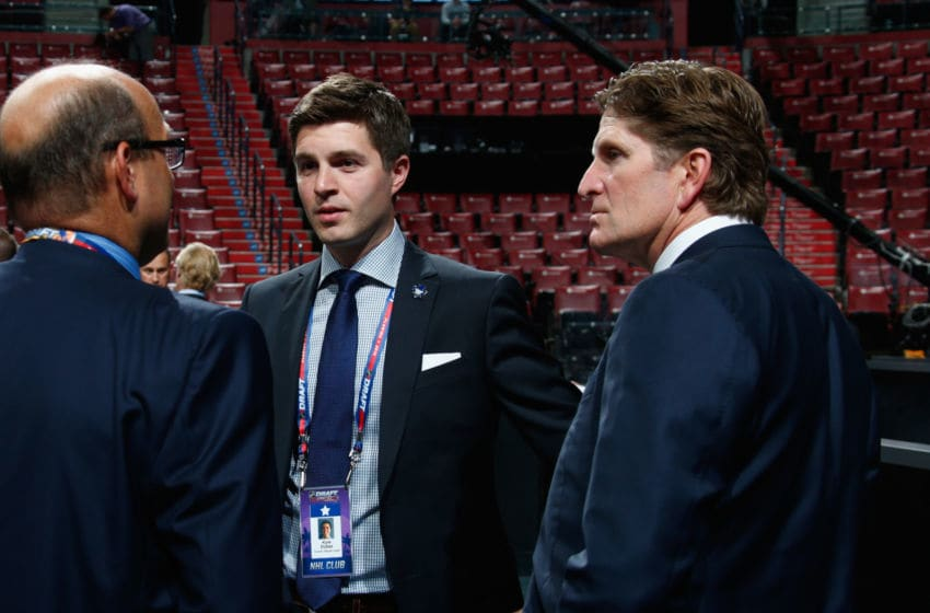 SUNRISE, FL - JUNE 26: Kyle Dubas and Mike Babcock of the Toronto Maple Leafs attend the 2015 NHL Draft at BB&T Center on June 26, 2015 in Sunrise, Florida. (Photo by Bruce Bennett/Getty Images)
