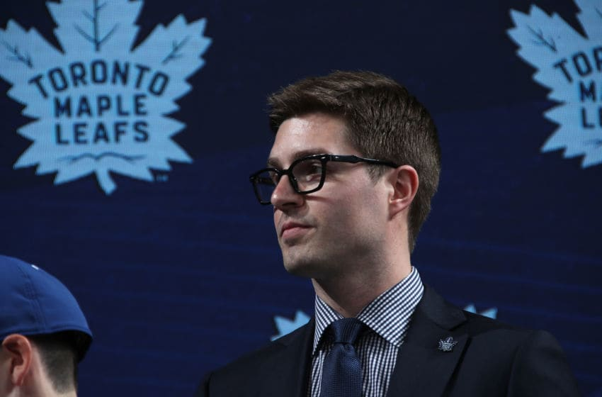 General manager Kyle Dubas of the Toronto Maple Leafs looks on during the first round of the 2018 NHL Draft. (Photo by Bruce Bennett/Getty Images)