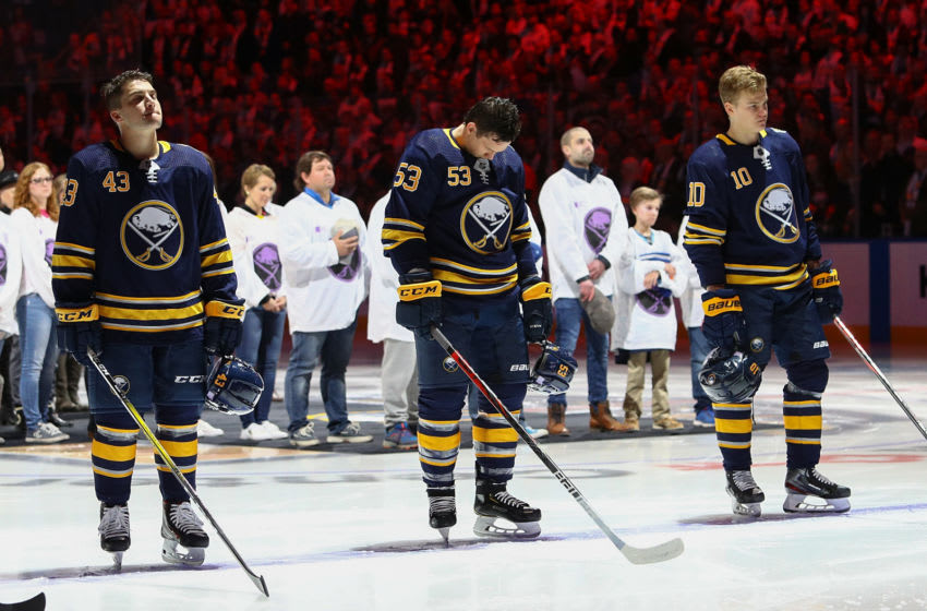 Buffalo Sabres players Conor Sheary #43, Jeff Skinner #53, and Henri Jokiharju #10. (Photo by Nicholas T. LoVerde/Getty Images)