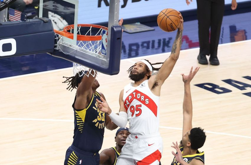 INDIANAPOLIS, INDIANA - JANUARY 25: DeAndre' Bembry #95 of the Toronto Raptors shoots the ball against the Indiana Pacers at Bankers Life Fieldhouse on January 25, 2021 in Indianapolis, Indiana. NOTE TO USER: User expressly acknowledges and agrees that, by downloading and or using this photograph, User is consenting to the terms and conditions of the Getty Images License Agreement. (Photo by Andy Lyons/Getty Images)