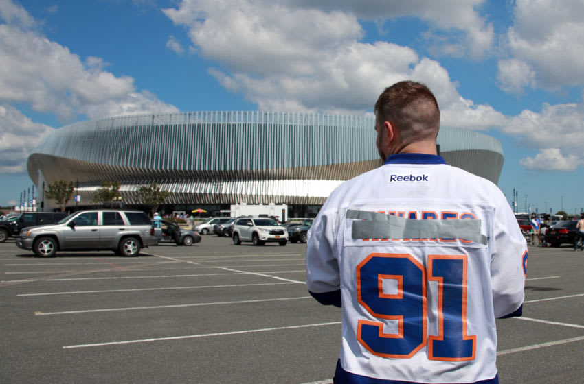 UNIONDALE, NEW YORK - SEPTEMBER 16: Billy McGregor of Farmingville wears a modified John Tavares jersey prior to the preseason game between the New York Islanders and the Philadelphia Flyers at the Nassau Veterans Memorial Coliseum on September 16, 2018 in Uniondale, New York. (Photo by Bruce Bennett/Getty Images)