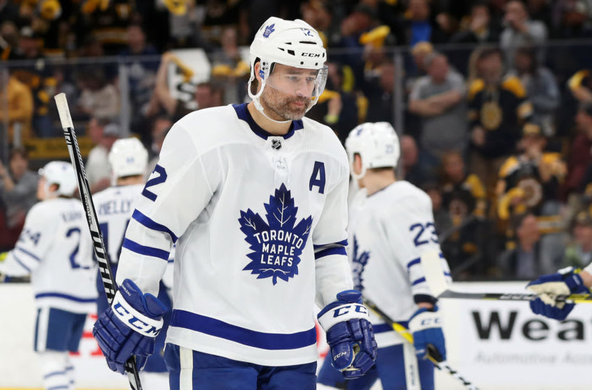 BOSTON, MASSACHUSETTS - APRIL 23: Patrick Marleau #12 of the Toronto Maple Leafs looks on during the third period of Game Seven of the Eastern Conference First Round against the Boston Bruins during the 2019 NHL Stanley Cup Playoffs at TD Garden on April 23, 2019 in Boston, Massachusetts. The Bruins defeat the Maple Leafs 5-1. (Photo by Maddie Meyer/Getty Images)