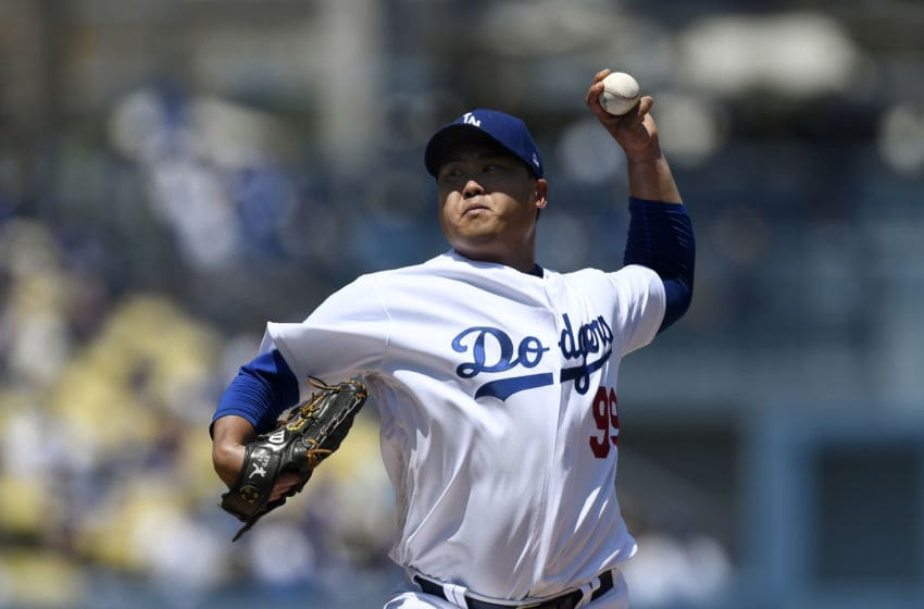 LOS ANGELES, CA - AUGUST 11: Hyun-Jin Ryu #99 of the Los Angeles Dodgers throws a pitch against Arizona Diamondbacks during the first inning at Dodger Stadium on August 11, 2019 in Los Angeles, California. (Photo by Kevork Djansezian/Getty Images)