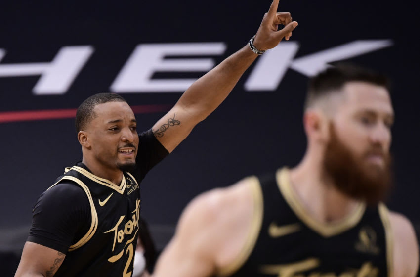 TAMPA, FLORIDA - MARCH 19: Norman Powell #24 of the Toronto Raptors reacts during the second quarter against the Utah Jazz at Amalie Arena on March 19, 2021 in Tampa, Florida. NOTE TO USER: User expressly acknowledges and agrees that, by downloading and or using this photograph, User is consenting to the terms and conditions of the Getty Images License Agreement. (Photo by Douglas P. DeFelice/Getty Images)
