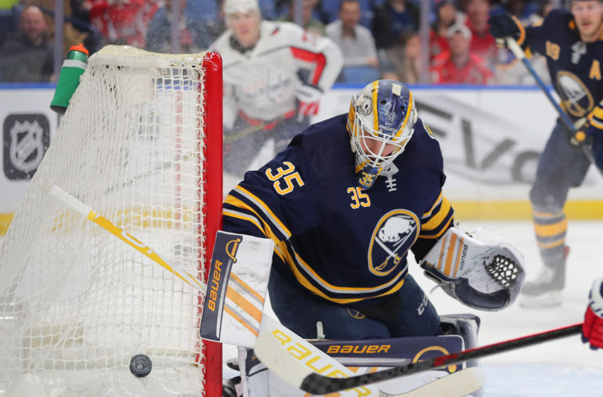 Buffalo Sabres goaltender Linus Ullmark (35) looks for the puck after making a save. (Timothy T. Ludwig/USA TODAY Sports)