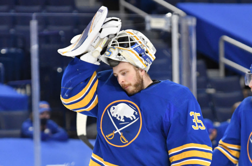 Buffalo Sabres goaltender Linus Ullmark (35). (Mark Konezny-USA TODAY )Sports