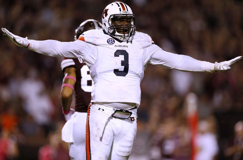 STARKVILLE, MS - OCTOBER 06: Marlon Davidson #3 of the Auburn Tigers reacts during the first half against the Mississippi State Bulldogs at Davis Wade Stadium on October 6, 2018 in Starkville, Mississippi. (Photo by Jonathan Bachman/Getty Images)