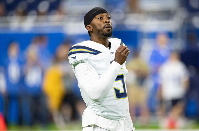 DETROIT, MI - SEPTEMBER 15: Tyrod Taylor #5 of the Los Angeles Chargers warms up prior to the start of the game against the Detroit Lions at Ford Field on September 15, 2019 in Detroit, Michigan. Detroit defeated Los Angeles 13-10. (Photo by Leon Halip/Getty Images)