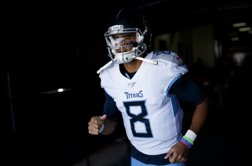 DENVER, CO - OCTOBER 13: Quarterback Marcus Mariota #8 of the Tennessee Titans runs through the tunnel before a game against the Denver Broncos at Empower Field at Mile High on October 13, 2019 in Denver, Colorado. (Photo by Justin Edmonds/Getty Images)