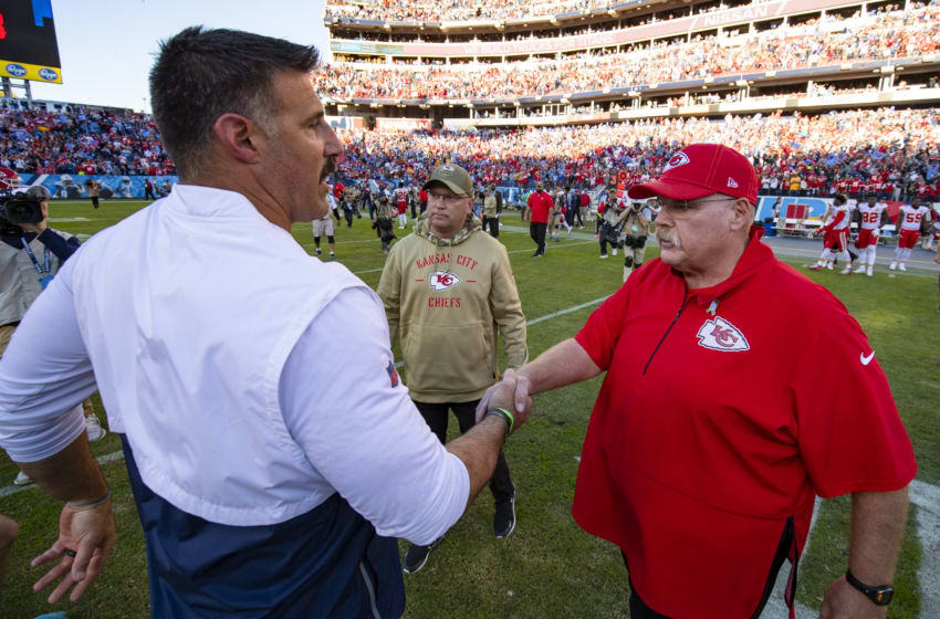 NASHVILLE, TN - NOVEMBER 10: Head coach Mike Vrabel of the Tennessee Titans shakes hands with head coach Andy Reid of the Kansas City Chiefs after the game at Nissan Stadium on November 10, 2019 in Nashville, Tennessee. Tennessee defeats Kansas City 35-32. (Photo by Brett Carlsen/Getty Images)