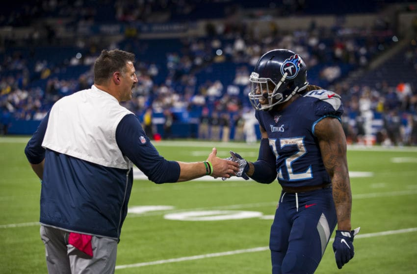 INDIANAPOLIS, IN - DECEMBER 01: Head coach Mike Vrabel high fives Derrick Henry #22 of the Tennessee Titans during the fourth quarter against the Indianapolis Colts at Lucas Oil Stadium on December 1, 2019 in Indianapolis, Indiana. Tennessee defeats Indianapolis 31-17. (Photo by Brett Carlsen/Getty Images)