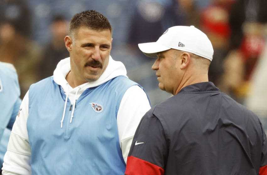 NASHVILLE, TENNESSEE - DECEMBER 15: Head coach Mike Vrabel of the Tennessee Titans speaks to head coach Bill O'Brien of the Houston Texans prior to a game against at Nissan Stadium on December 15, 2019 in Nashville, Tennessee. (Photo by Frederick Breedon/Getty Images)
