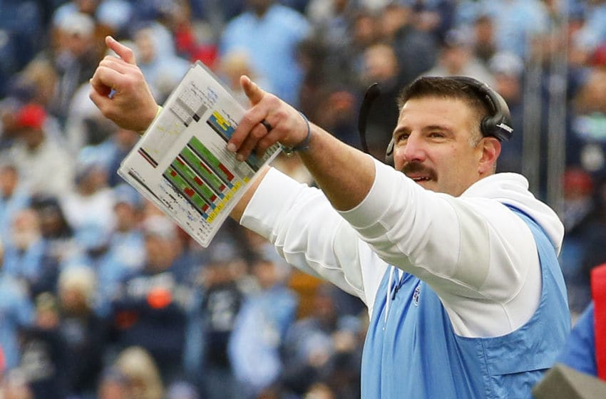 NASHVILLE, TENNESSEE - DECEMBER 15: Head coach Mike Vrabel of the Tennessee Titans signals during the second half of a game against the Houston Texans at Nissan Stadium on December 15, 2019 in Nashville, Tennessee. (Photo by Frederick Breedon/Getty Images)