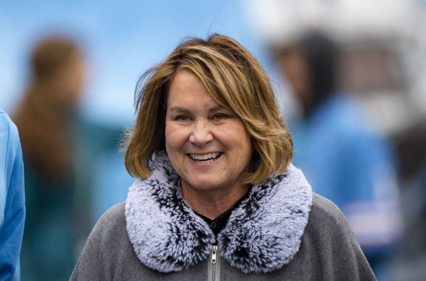 NASHVILLE, TN - DECEMBER 15: Owner Amy Adams Strunk of the Tennessee Titans walks on the sideline before the game against the Houston Texans at Nissan Stadium on December 15, 2019 in Nashville, Tennessee. Houston defeats Tennessee 24-21. (Photo by Brett Carlsen/Getty Images)
