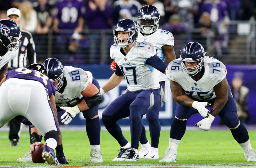 BALTIMORE, MARYLAND - JANUARY 11: Ryan Tannehill #17 of the Tennessee Titans reacts at the line of scrimmage during the first half against the Baltimore Ravens in the AFC Divisional Playoff game at M&T Bank Stadium on January 11, 2020 in Baltimore, Maryland. (Photo by Rob Carr/Getty Images)