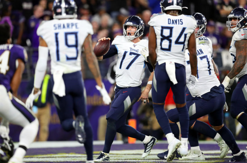 BALTIMORE, MARYLAND - JANUARY 11: Ryan Tannehill #17 of the Tennessee Titans celebrates after rushing for a 1-yard touchdown during the third quarter against the Baltimore Ravens in the AFC Divisional Playoff game at M&T Bank Stadium on January 11, 2020 in Baltimore, Maryland. (Photo by Maddie Meyer/Getty Images)
