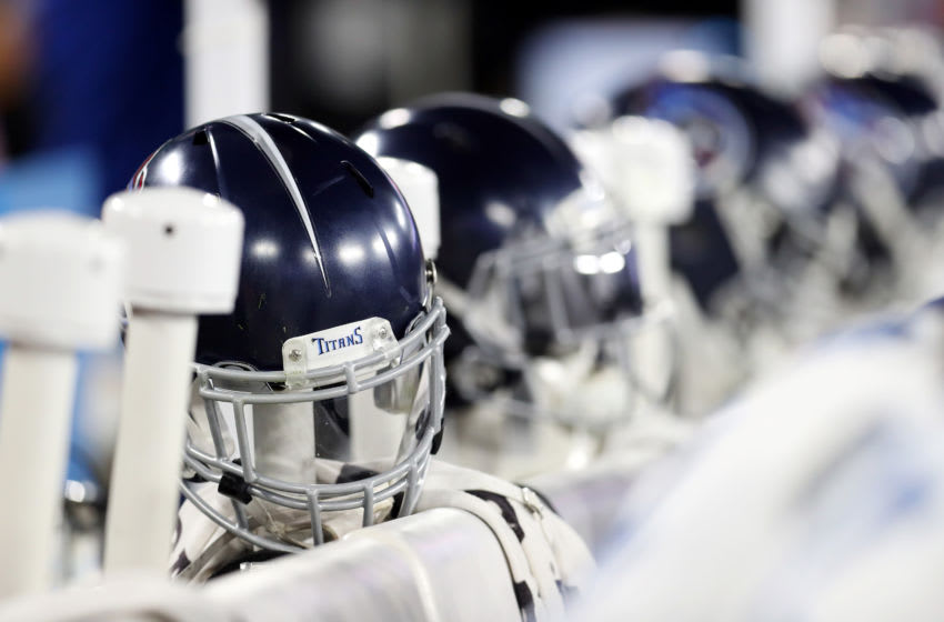 BALTIMORE, MARYLAND - JANUARY 11: A detail of Tennessee Titans helmets on the sideline in the AFC Divisional Playoff game between the Baltimore Ravens and the Tennessee Titans at M&T Bank Stadium on January 11, 2020 in Baltimore, Maryland. (Photo by Maddie Meyer/Getty Images)