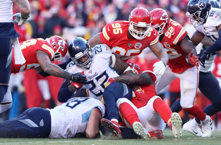KANSAS CITY, MISSOURI - JANUARY 19: Derrick Henry #22 of the Tennessee Titans runs with the ball in the first half against the Kansas City Chiefs in the AFC Championship Game at Arrowhead Stadium on January 19, 2020 in Kansas City, Missouri. (Photo by Jamie Squire/Getty Images)