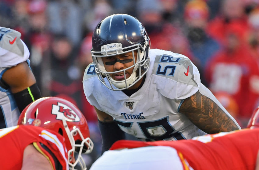 KANSAS CITY, MO - JANUARY 19: Linebacker Harold Landry #58 of the Tennessee Titans looks across the line of scrimmage before a play in the second half against the Kansas City Chiefs, in the AFC Championship Game at Arrowhead Stadium on January 19, 2020 in Kansas City, Missouri. (Photo by Peter G. Aiken/Getty Images)